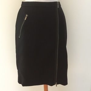 J. Crew Petite Asymmetrical Zip Pencil Skirt Wool